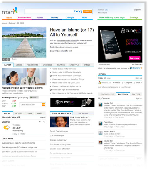 is a new msn layout the answer   msft  yhoo  goog   7 wall st