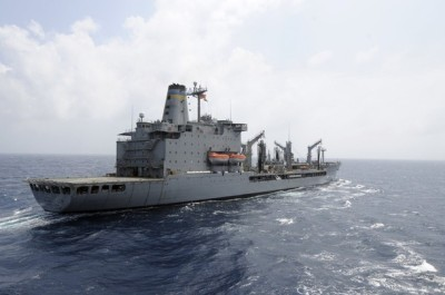 U.S. Navy supply ship Rappahannock at sea in this handout photo taken in the South China Sea