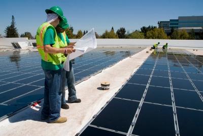 Solar panel installation on roof of Wallmart