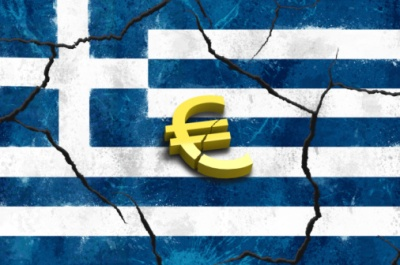 Crumbling Greek flag with euro