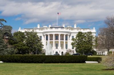 White House South Lawn, Blue Sky, Washington, DC, USA