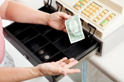 cash register, not full
