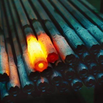 close-up of red hot iron beams