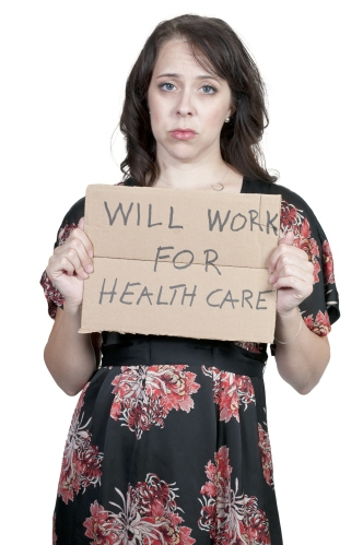 Sad woman holding sign will work for healthcare