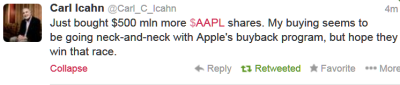 Icahn Apple Tweet Jan 28
