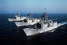 Perry-class frigates USS Oliver Hazard Perry (FFG-7), USS Antrim (FFG-20), and USS Jack Williams (FFG-24).