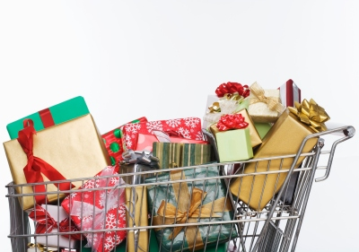 Shopping Cart Full of Christmas Presents