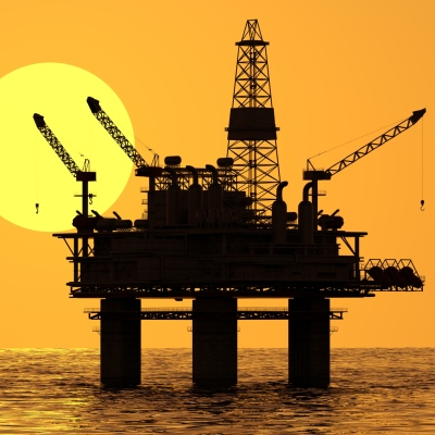 Oil platform on sea