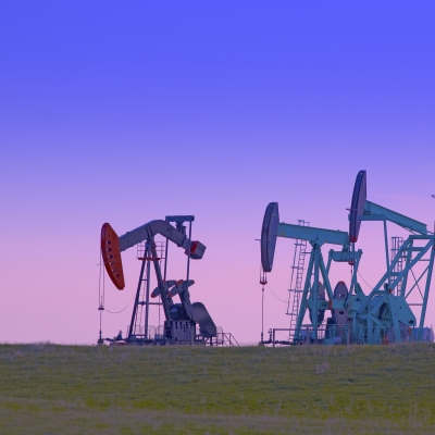 Pump Jacks Against at Dusk