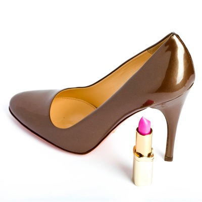 high heel shoeand lipstick