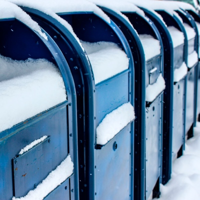 snowy mail boxes