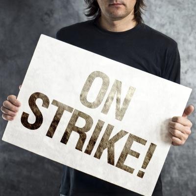 Worker on strike