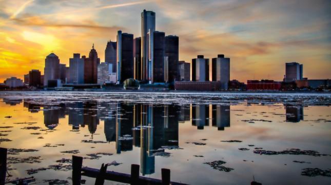 Detroit, Michigan 2, skyline, sunset