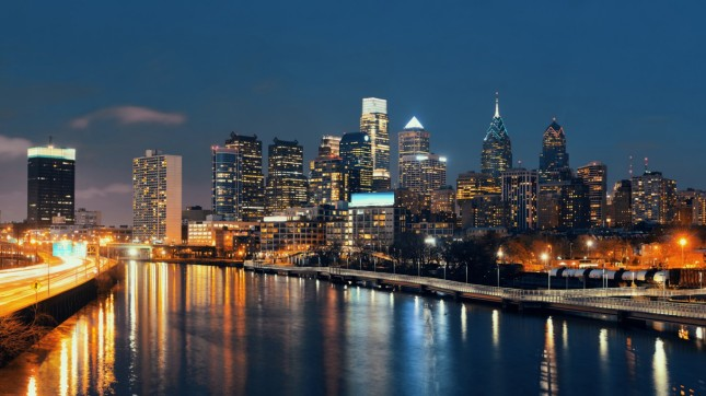 Philadelphia at night, Pennsylvania