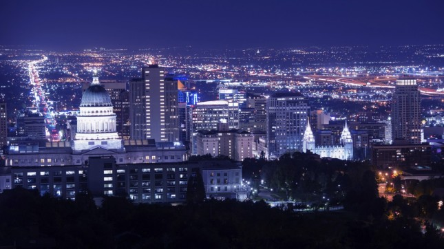 Salt Lake City at night, Utah