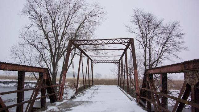 Snow Coverd Abandoned Bridge