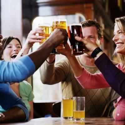 cheers, people drinking beer