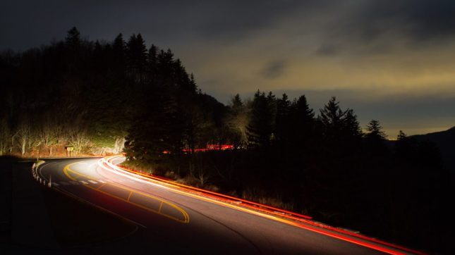 Gaitlinburg, Tennessee night driving