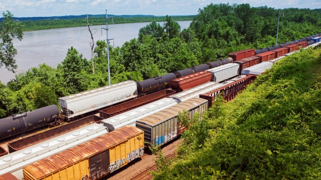 Kansas, USA, freight trains, elevated view