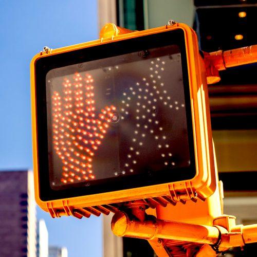 Don't walk New York traffic sign, pedestrian