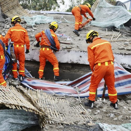 Search and rescue workers, natural disaster