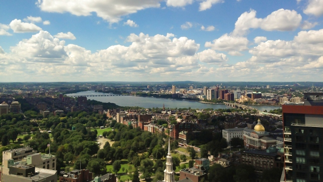 Boston, Cambridge Skyline, Aerial view, Charles River and Beacon Hill