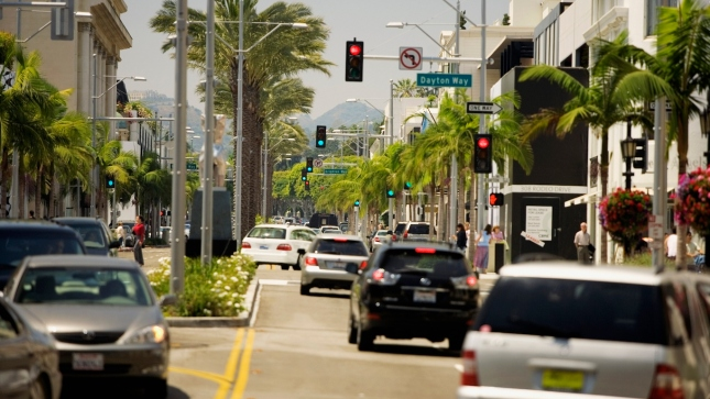 Rear view of traffic on a street, Rodeo Drive, Los Angeles, California, USA