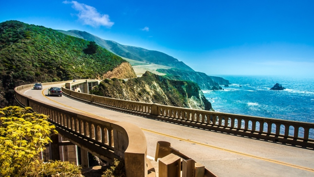 Bixby Creek Bridge on Highway One, California driving