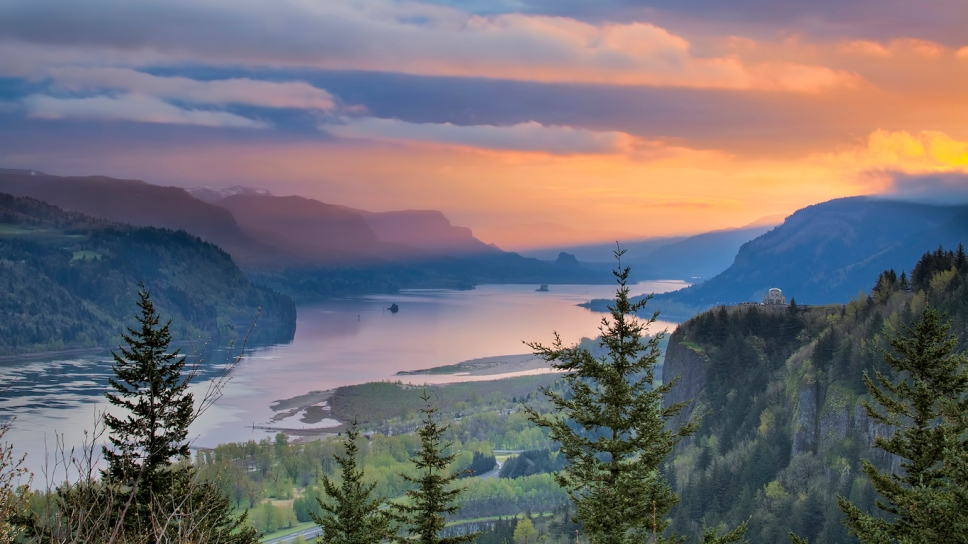 Sunrise Over Crown Point at Columbia River Gorge, Oregon