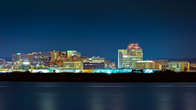 Wilmington skyline by night