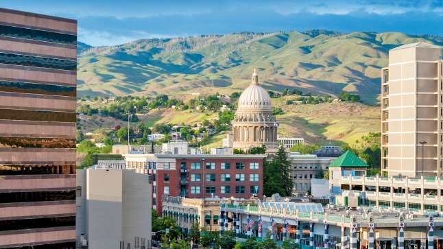 City of Bosie Idaho with modern buildings