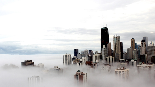 Chicago city buildings in the clouds
