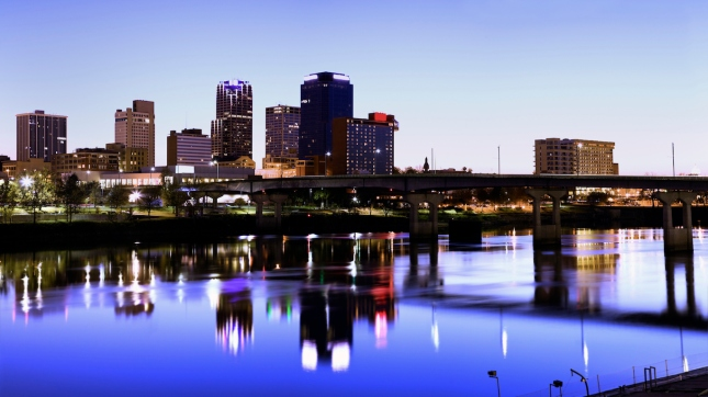 Evening in Little Rock, Arkansas.