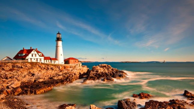 Portland Head Light in Maine at Sunrise