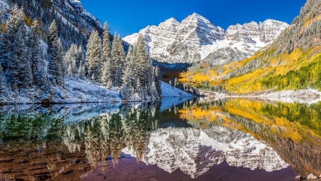winter and Fall foliage at Maroon Bells, Aspen Colorado