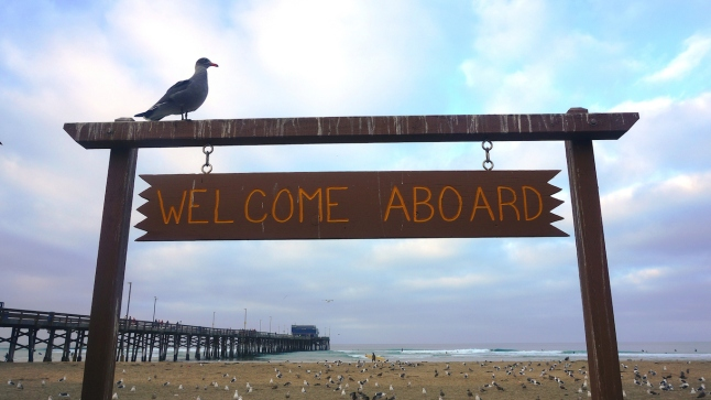Newport Pier, Welcome Aboard Sign, at Morning Twilight