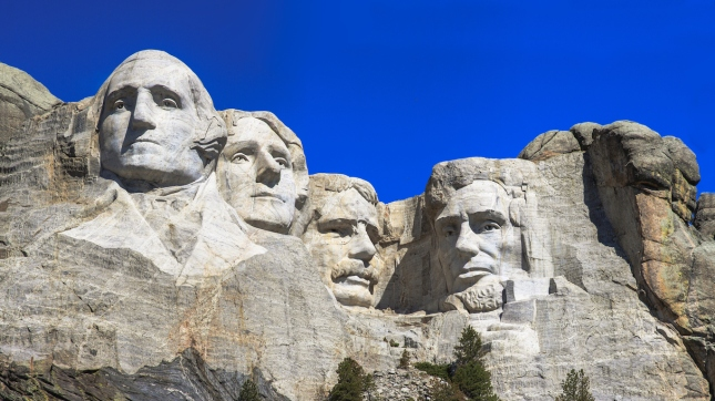 The four presidents at Mount Rushmore in South Dakota