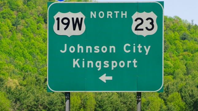 Johnson City and Kingsport, Tennessee road sign
