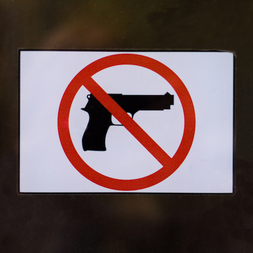 "Shop Door With ""Gun-Free Zone"" Symbol No Guns"