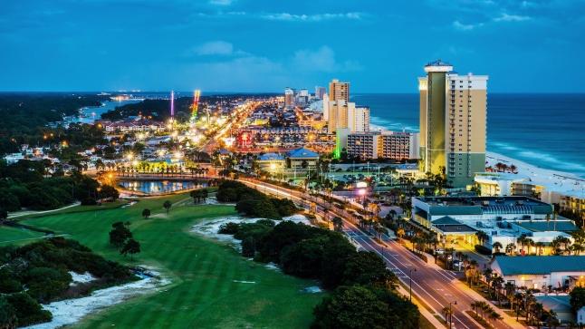 Panama City Beach, Florida, view of Front Beach Road at night