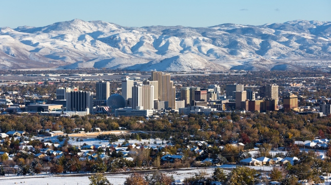 Reno, Nevada downtown during winter