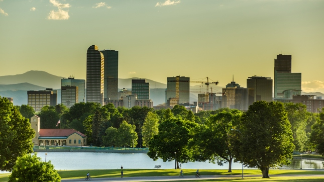 Denver Skyline at Sunset Colorado