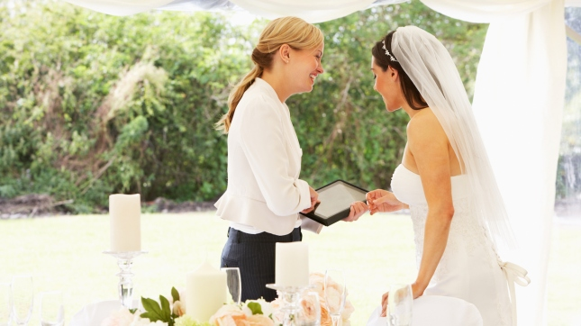 Bride With Wedding Planner In Marquee, Event Planner