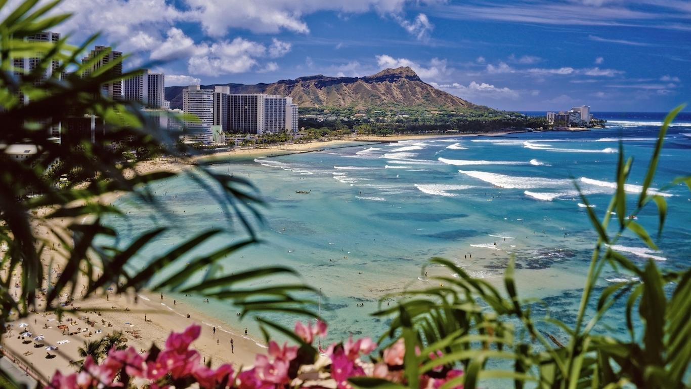 waikiki beach and diamond head in honolulu hawaii