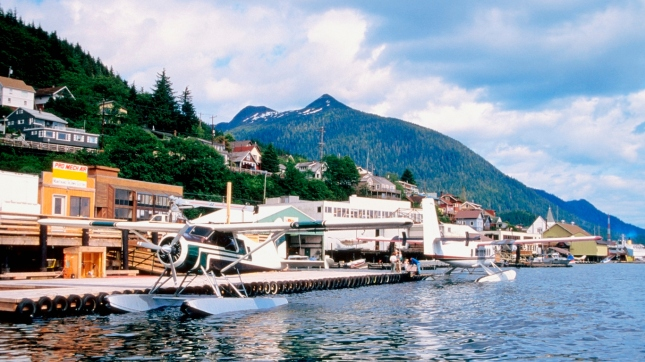 Two seaplanes parked at a harbor, Ketchikan, Alaska