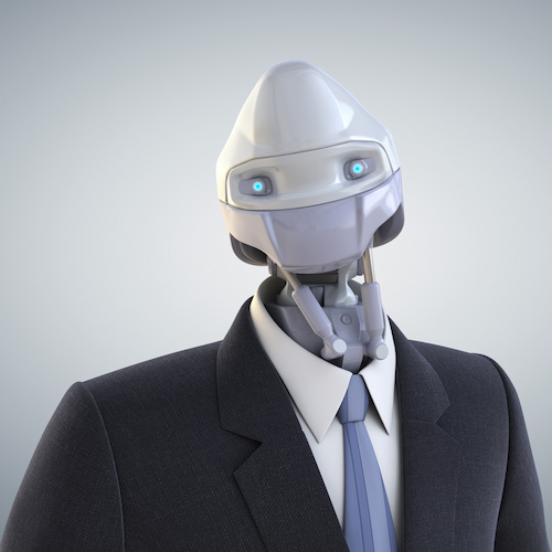 Modern robot dressed in a business suit