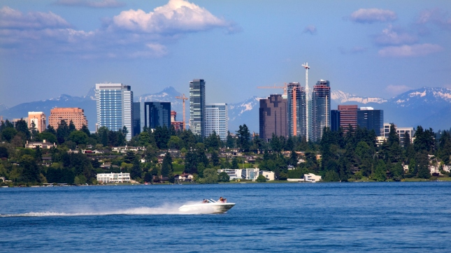 Bellevue Washington from Lake with Mountains