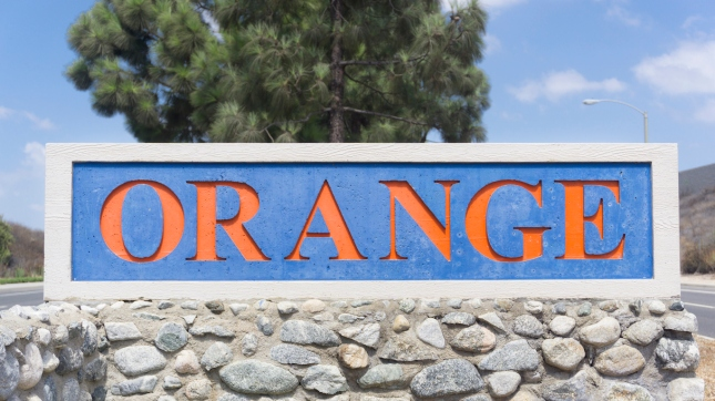 Sign for City of Orange in California