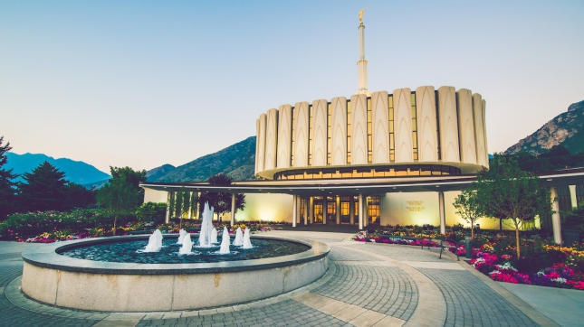 Provo Temple and Fountain, Utah