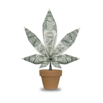 Concept photograph of cannabis leaf made of US dollar bills